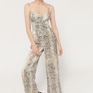 UO Blythe Snake Print Corset Jumpsuit /mi